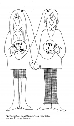 A drawing depicts a smiling man and a woman with wires coming out of their heads, leading to buttons in each others' hands.