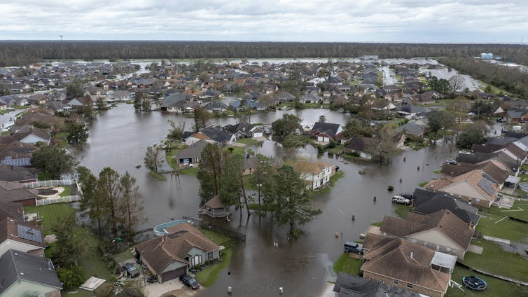 Overhead shot of flooded streets in LaPlace, La., after Hurricane Ida