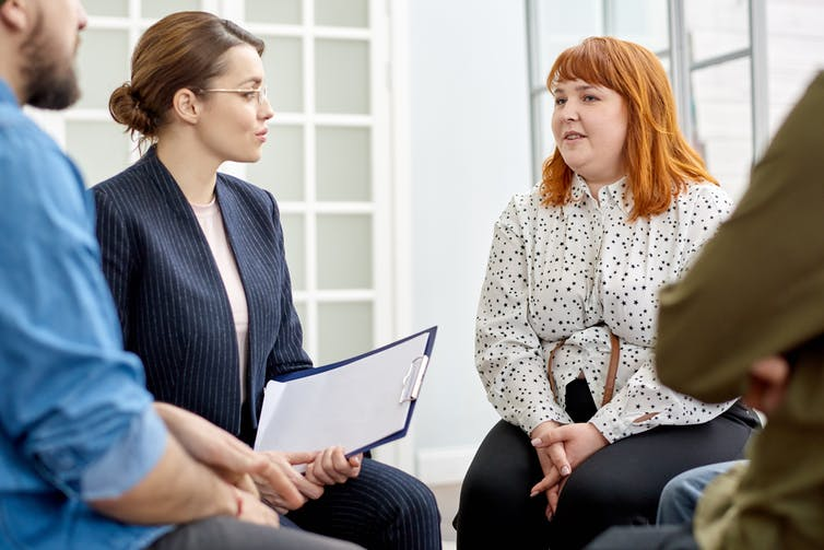 A group counselling session.