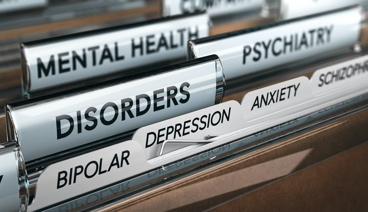 Folders labelled with mental health conditions