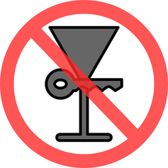 A martini glass and a key in a circle with a red line through it.
