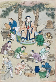 Illustration of a master surrounded by his disciples who are processing drugs